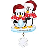 Grantwood Technology Personalized Christmas Ornaments Baby's First- We're Expecting Penguins/Personalized by Santa/Baby ON The Way Christmas Ornaments
