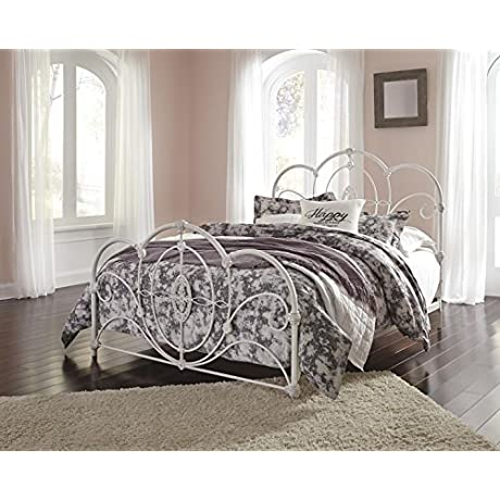 Loriday Queen Metal Bed In Aged White