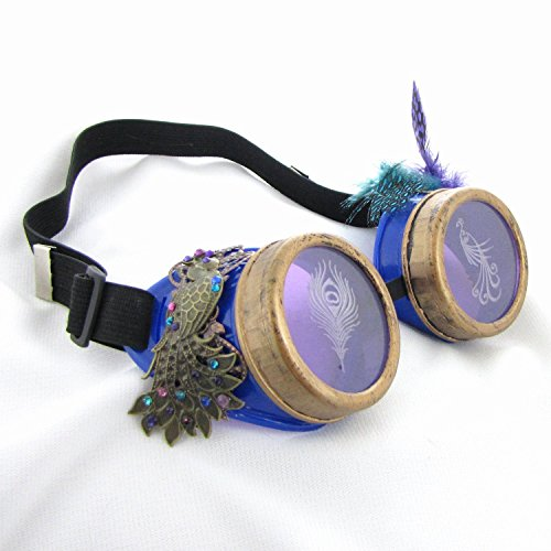 Steampunk Peacock Goggles Costume Halloween Cosplay Feathers Birds]()