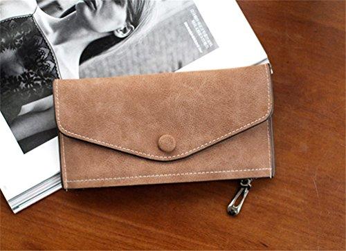 Women LIZHIGU 967 Brown Purse Simple Holder Wallet Clutch Small Card Envelope Leather gZqxadpZ