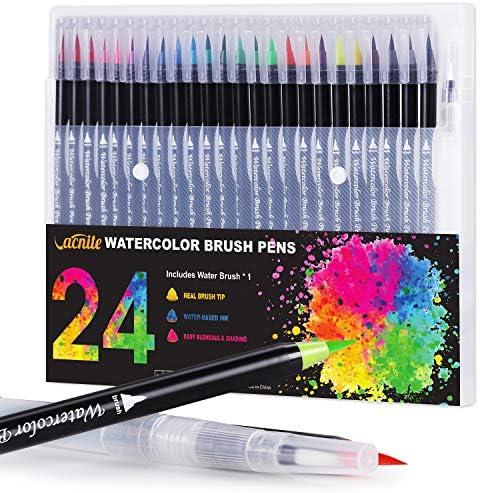 with PrettopBrush Pens,Watercolour Brush Pens Set 24 Colours 2 Water Brush