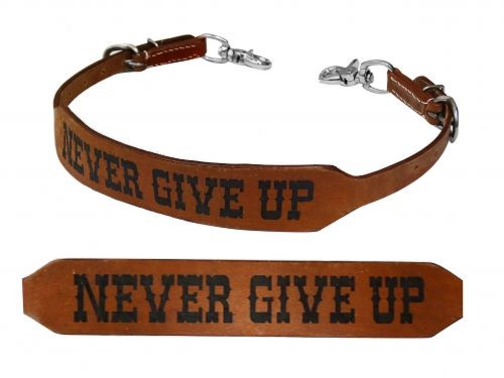 Showman Never Give Up Branded Stamped Horse Size Leather Wither Strap Adusts 27''-24''