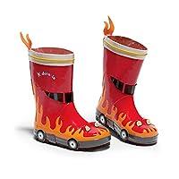 Kidorable Red Fireman Natural Rubber Rain Boots w/Fun Flame Pull On Heel Tab
