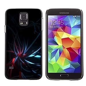 FECELL CITY // Duro Aluminio Pegatina PC Caso decorativo Funda Carcasa de Protección para Samsung Galaxy S5 SM-G900 // Black Dark Teal Red Lights