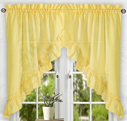 "Ellis Curtain Stacey Tailored Tier Pair Curtains, 56"" X 36"