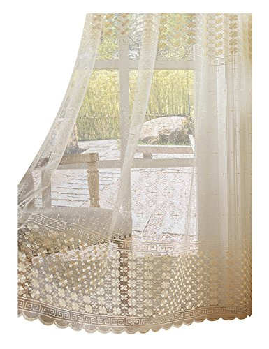 Aside Bside Sheer Curtains Clover Embroidered Elegance Window Treatment Rod Pocket Voile Panels for Living Room & Bedroom(1 Panel, W 100 x L 84 inch, White) -1280450C1FFEWHX610084-8516