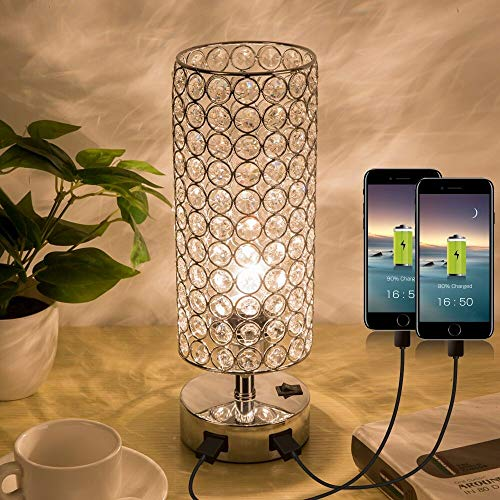 Guest Room Lamp - ZEEFO Crystal Table Lamp, Elegant Decorative Bedside Table Lamp Built in Dual USB Charging Ports and Press Switch, Nightstand Lamp Ideal for Bedroom, Guest Room, Living Room