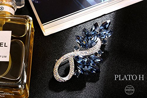 Women 's Brooch Pin PLATO H Leaf Brooch Necklace with Swarovski Crystals Fashion Jewelry Brooch, Woman Neckalce Brooch