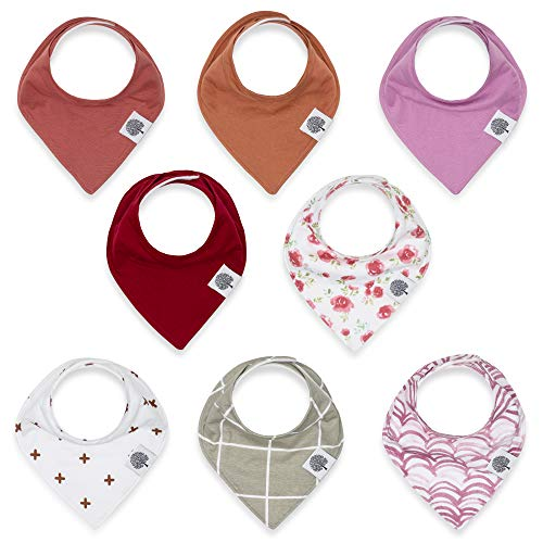 Parker Baby Bandana Drool Bibs - 8 Pack Baby Bibs for Girls -