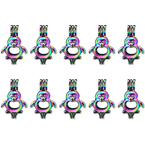 (10 Pack) Rainbow Color Penguin Beads Cage Locket Pendant Charms