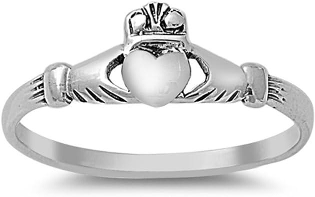 Size 9 Irish Celtic Jewelry Sterling Silver Claddagh Petite Band Ring Irish Promise Ring
