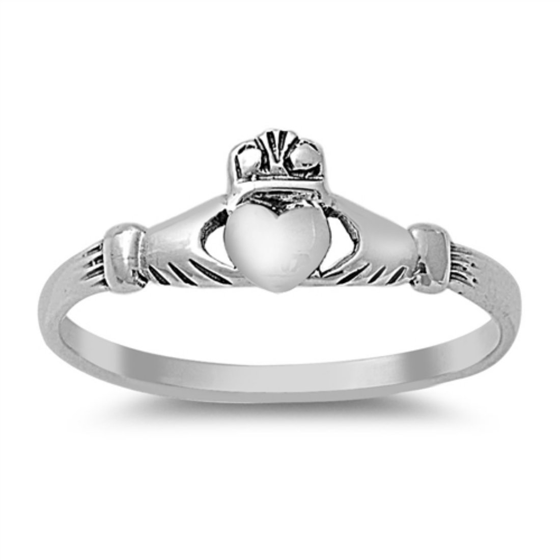 Petite Dainty Irish Claddagh Promise Band Ring 925 Sterling Silver Wedding Engagement 1-10