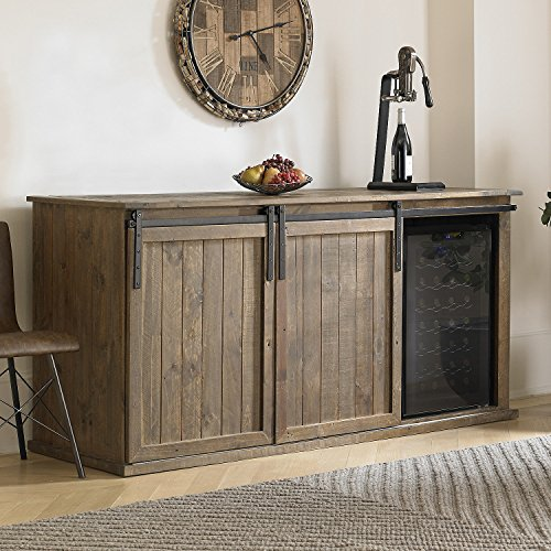 Mesa Sliding Barn Door Credenza With Two Wine Refrigerator (28 Bottle)
