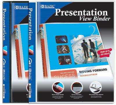 BAZIC 1/2'' Poly 3-Ring Presentation View Binder w/ Pocket, Case Pack 48