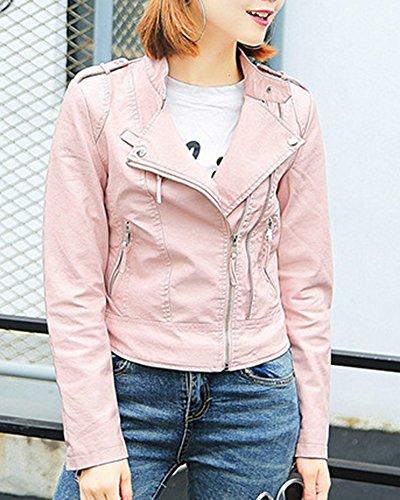 Pink Veste Jacket Femmes PU Cuir En Slim Casual Longues Manches Courte OxZv1TqF