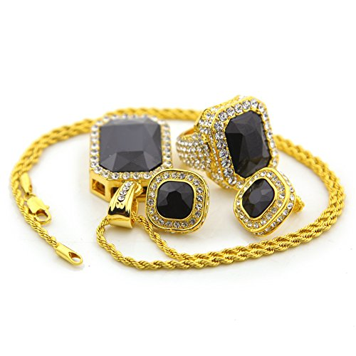 Hip Hop Dollar Sign Watch (HongBoom Hip Hop Twist Chain 14K Gold Plated CZ Fully Iced-Out Black Ruby Ring Earring Necklace Set (Ring size US8))