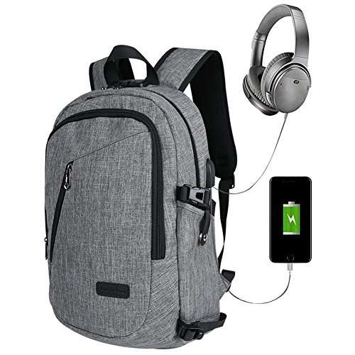 Laptop backpack, business computer bag backpack, student case with USB charging port Und Lock & Kopfhörerfach, fits up to 15.6 inch laptop notebook or IPad