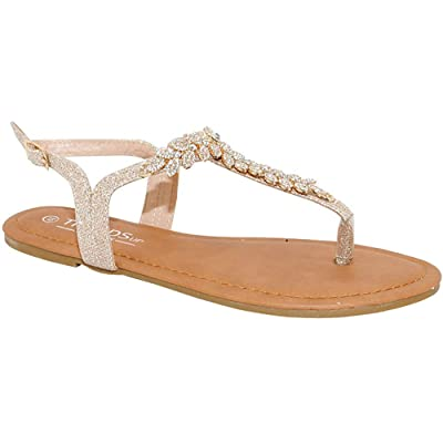 TRENDSup Collection Womens T-Strap Buckle Flats Sandals   Flats