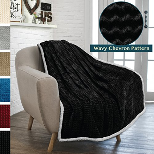 PAVILIA Premium Chevron Fleece Throw Blanket for Sofa, Couch | Soft Fuzzy Zig Zag Texture, Fluffy Lightweight Microfiber Blanket, Cozy Reversible Plush Sherpa Throw (50 x 60 Inches, Black) Black Microplush Throw