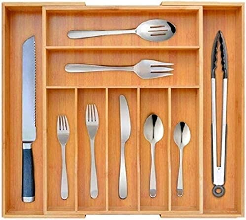 Bandeja extensible para cubiertos de madera de bamb/ú organizador de almacenamiento para utensilios cubiertos Made Terra de 5 a 7 compartimentos ajustables de 33 x 30 cm