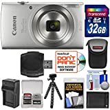 Canon PowerShot Elph 180 Digital Camera (Silver) 32GB Card + Battery & Charger + Flex Tripod + HDMI Cable + Kit