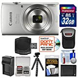Canon PowerShot Elph 180 Digital Camera (Silver) with 32GB Card + Battery & Charger + Flex Tripod + HDMI Cable + Kit