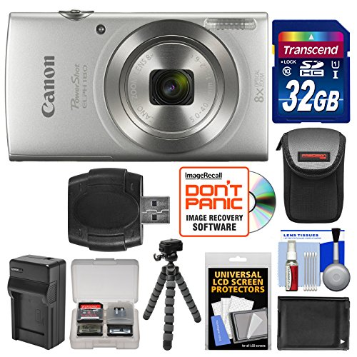 Canon PowerShot Elph 180 Digital Camera (Silver) with 32GB Card + Battery & Charger + Flex Tripod + HDMI Cable + Kit by Canon