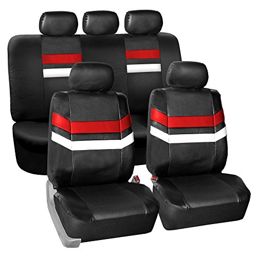 Audi Leather Seats - FH Group PU006115 Varsity Spirit PU Leather Seat Covers, Airbag & Split Ready, Red/Black Color
