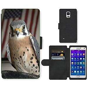Hot Style Cell Phone Card Slot PU Leather Wallet Case // M00109426 Kestrel Hawk Bird Macro Close-Up // Samsung Galaxy Note 4 IV
