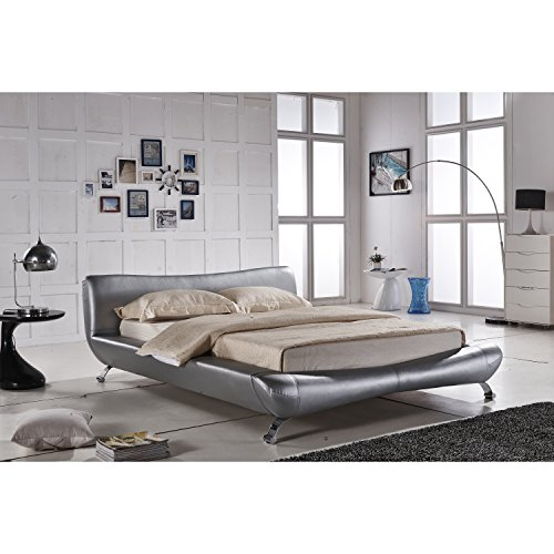 Container Furniture Direct Joyce Collection Contemporary Faux Leather Platform Bed with Headboard, Silver, Cal King - Leather Cal King Bed