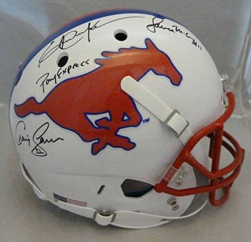 Pony Express Autographed SMU Mustangs Replica Helmet - JSA Authenticated Dickerson/James/McIllhenney - Autographed NCAA Helmets (Mustangs Replica Smu)