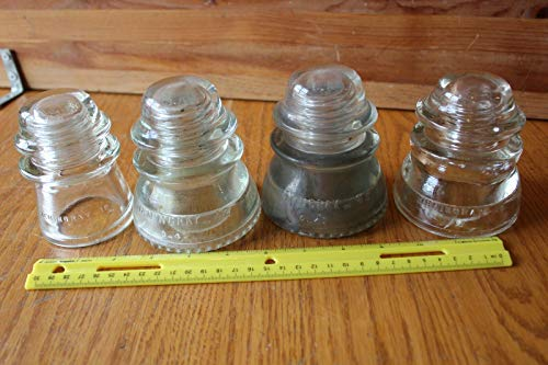 - Vintage Hemingray telephone glass pole insulators No 45 42 16 Lot of 4 Clear