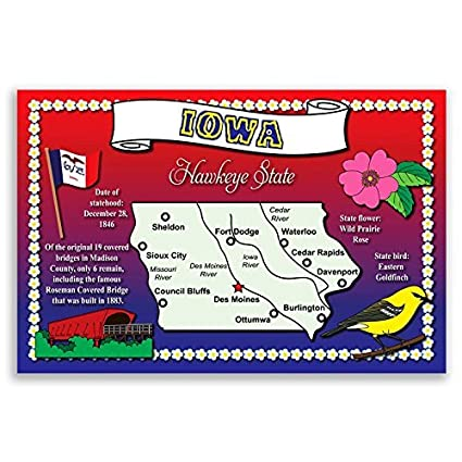 Amazon Com Iowa State Map Postcard Set Of 20 Identical Postcards