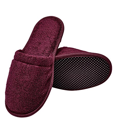 Burgundy Footwear - Arus Men's Organic Turkish Terry Cotton Memory Foam Spa Slippers Burgundy L/XL
