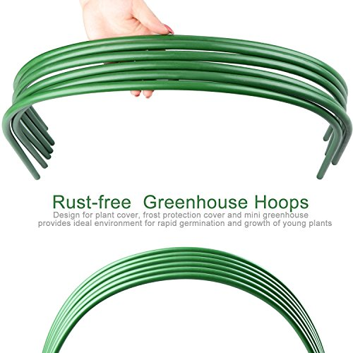 B&P Portable Garden Hoops Hoop Greenhouse Plant Hoops, Rust-Free Grow Tunnel 4ft Long Steel with Plastic Coated Hoops,Greenhouse Support Hoops for Garden Hoop,6Pack (Arch Size: 18.5'' H x 19.6'' W) by B&P (Image #2)