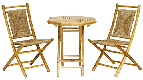 Heather Ann Creations The Lana'l Collection Contemporary Style Bamboo Wooden 3-Piece Table and Chairs Outdoor Patio Bistro Dining Set, Natural -