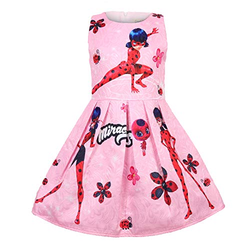 Crazy Gotend Girl's Ladybug Sleeveless Special Occasion Dresses Pink 5-6Y