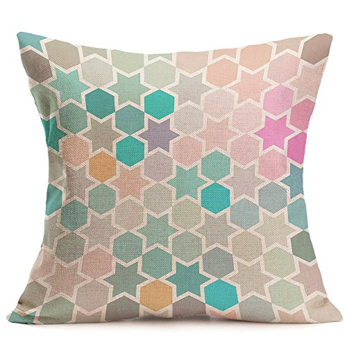 Birdfly Modern Geometric Pattern Throw Pillow Cases Bohemian Color Blocks Print Cotton Linen Cushion Covers Art Designs Decorative Pillowcase Home Office Rooms Bed Sofa Waist Car Decoration (C)