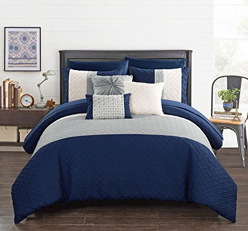 Chic Home Osnat 10 Piece Comforter Set Color Block Quilted Embroidered Design Bag Bedding – Sheets Decorative Pillows Shams Included, King Navy