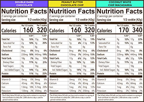 Munk Pack Variety Pack Protein Cookies with 16 Grams of Protein   Soft Baked   3 Flavors - Peanut Butter Chocolate Chip, Double Dark Chocolate, White Chip Macadamia   6 Pack 3