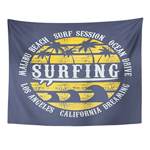 Breezat Tapestry Navy Summer on the of Surf and Surfing in California Malibu Beach Vintage Design Grunge Graphics Retro Home Decor Wall Hanging for Living Room Bedroom Dorm 60x80 Inches