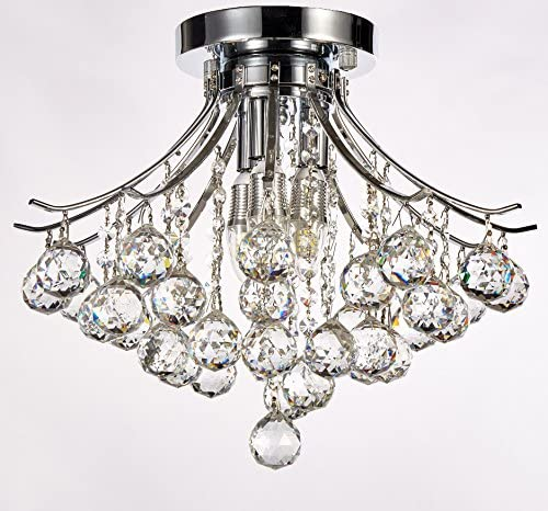 New Galaxy Lighting Modern Style 3-Light Chrome Finish Crystal Chandelier Flushmount Ceiling Fixture