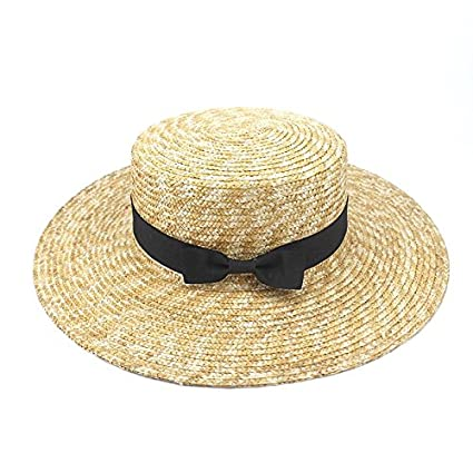 34d2a2f5099 Amazon.com   ALWLj Girl Summer Straw Hats Fashion Flat Top Sun Hat For Women  Summer Beach Cap Wide Brim Hat For Female Visor Caps Summer   Sports    Outdoors