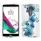 LG G4 Case, Snap On Cover by Trek Blue Flowers on White Case