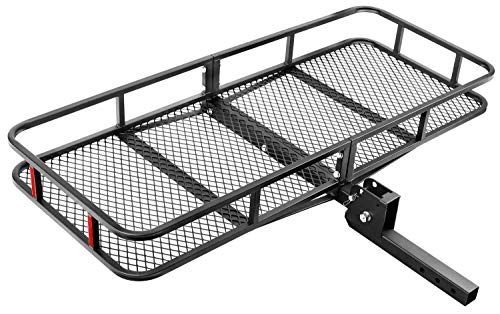 "Leader Accessories Hitch Mount Cargo Basket Folding Cargo Carrier Luggage Basket 60"" L x 24"" W x 6"" H with 500 LB Capacity Fits 2"" Receiver"