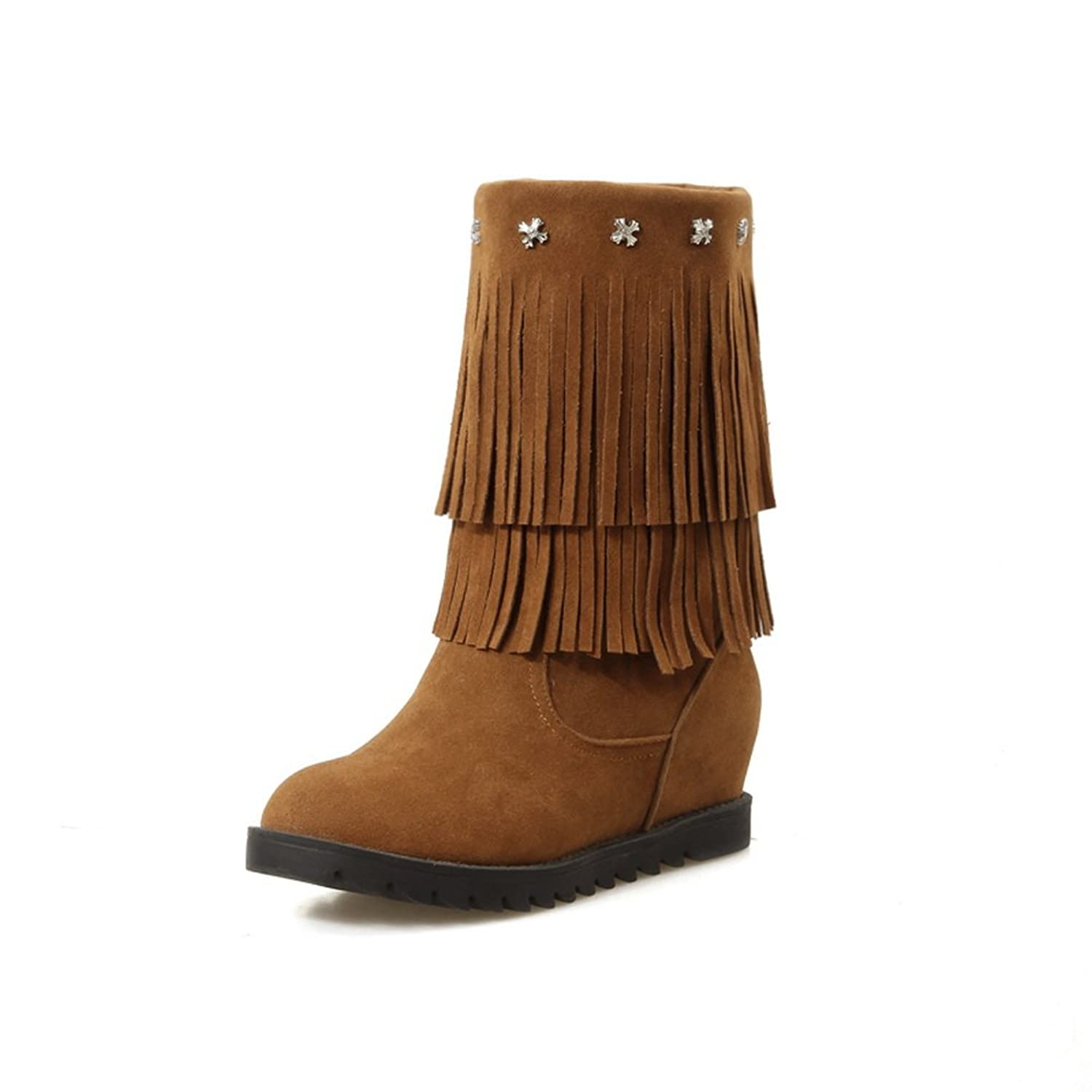 Womens Metal Ornament Tassels Heighten Inside Yellow Imitated Leather Boots - 8.5 B(M) US