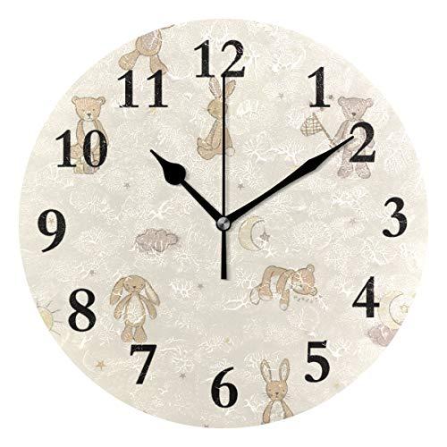 (NMCEO Round Wall Clock Bear HUGS Teddy Acrylic Original Clock for Home Decor Creative)