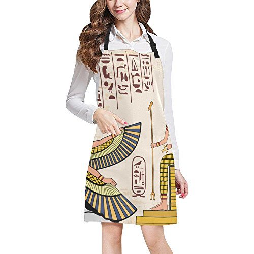Egyptian Decor Adjustable Kitchen Chef Bib Apron with Pocket for Cooking, Baking, Crafting, - Pocket Mirror Zodiac