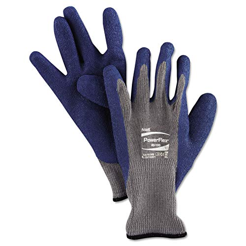 (Ansell PowerFlex Gloves, Blue/Gray, Size 10, 1 Pair - 8010010PR, (Pack of 10))