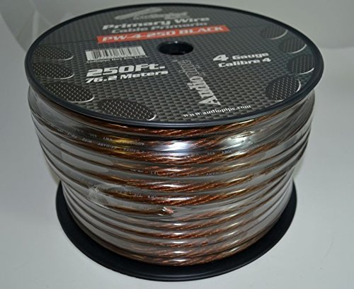 4 GA BLACK POWER WIRE PRIMARY GROUND 250FT COPPER MIX CABLE CAR AUDIO AMPLIFIER by Audiopipe (Image #2)'
